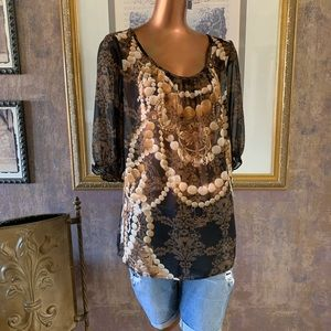East 5th Stunning Sheer Blouse L